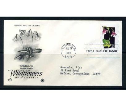 ABD FDC 1992 ÇİÇEK  TWINFLOWER SÜPER