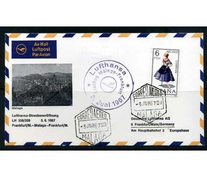 LUFTHANSA İLK UÇUŞ FDC 1967 MALAGA-FRANKFURT