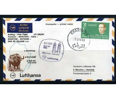 LUFTHANSA İLK UÇUŞ FDC 1968 KHARTOUM-MÜNİH