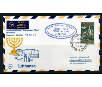 LUFTHANSA İLK UÇUŞ FDC 1968 TEL AVİV-FRANKFURT