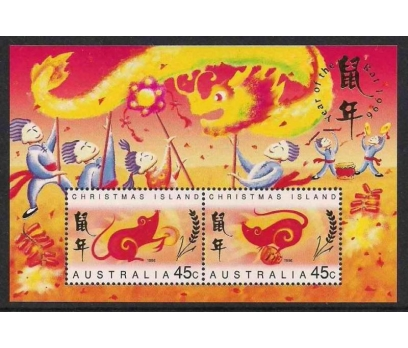 1996 Christmas Island Fare Yılı Blok Damgasız**