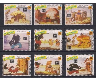 1992 St. Vincents Üç Küçük Domuz Disney Damgasız**