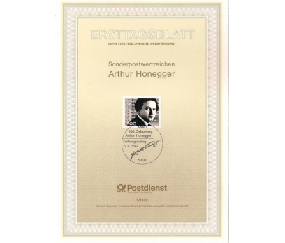 Almanya ETB 07-1992 Arthur Honegger