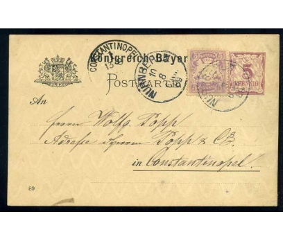 BAYERN 1889  İLAVE PULLA POSTADAN GEÇMİŞ ANTİYE