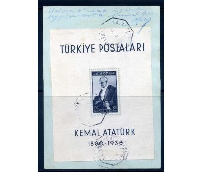 CUMHURİYET OTANTİK DAMGALI 1940  ATATÜRK BLOK(M)