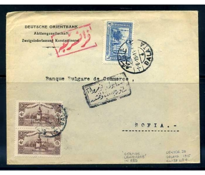 OSMANLI  1915 GALATA 4 DAMG. BANKA ANT.PGZ(290415)