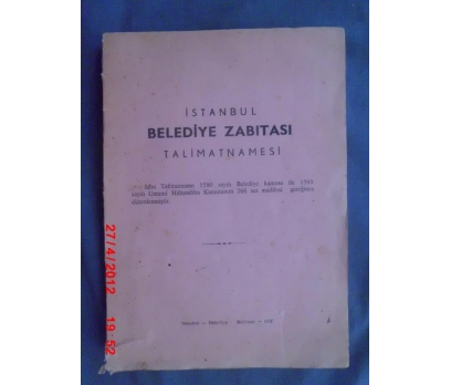 İSTANBUL BELEDİYE ZABITASI TALİMATNAMESİ 1972