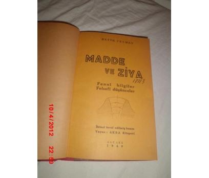 MADDE VE ZİYA / REFİK FENMEN (FELSEFİ DÜŞÜN.)1940