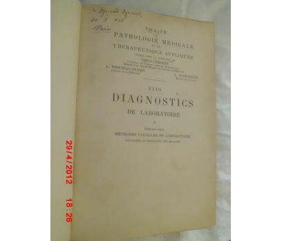 DIAGNOSTICS DE LABORATOIRE / 1924 FRANSIZCA
