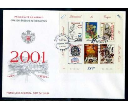 MONAKO  FDC 2001 MONAKO SİRK FESTİVALİ BLOK SÜPER