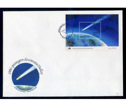 PORTEKİZ FDC 1986  HALLEY K.YILDIZ  BLOK SÜPER