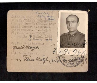 D&K- ASKERİ KİMLİK 1946 YILI