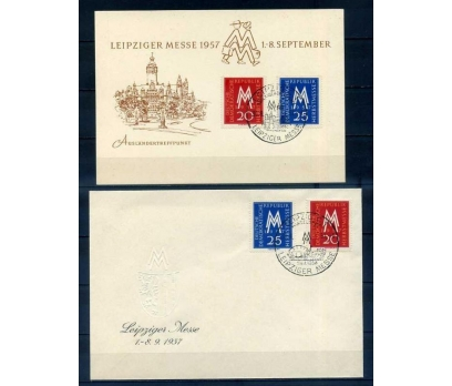 DOĞU ALMANYA 1957 LEİPZİGER MESSE FDC + KART SÜPER