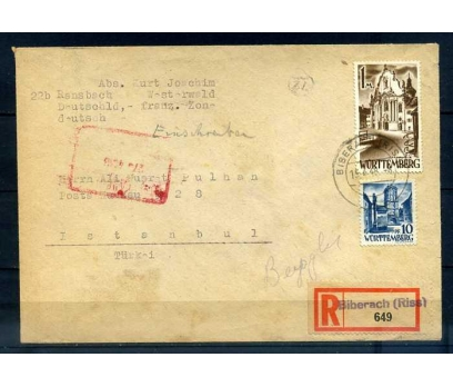 WÜRTTEMBERG 1948 İST.A GELMİŞ KLASİKPG TAAH.ZARF