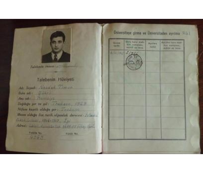 HUKUK FAKÜLTE TALEBE KARNESİ NECDET TİMUR 1947-52