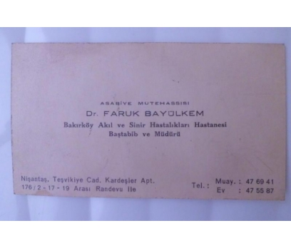 KARTVİZİT DR.FARUK BAYÜLKEM  / BAŞTABİB