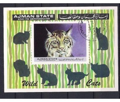 Ajman Vahşi Kediler Blok Damgalı