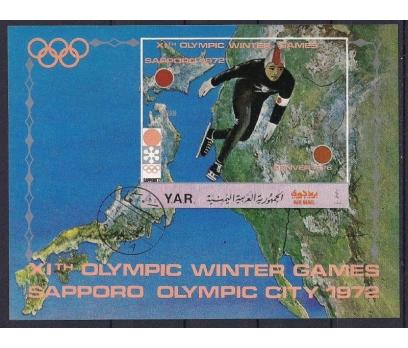 1972 Yemen Sapporo 72 Olimpik Blok Damgalı