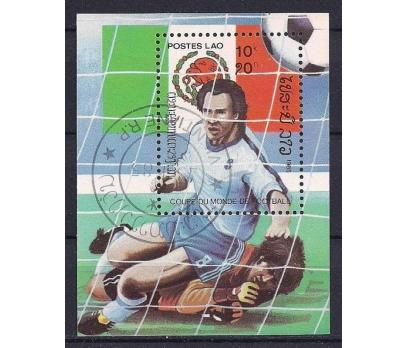 1985 Laos Futbol Temalı Blok Damgalı