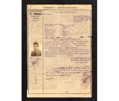 D&K-- NOTER HÜVİYET CÜZDANI İZMİR 1935 YILI