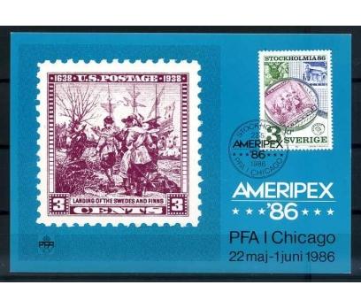 İSVEÇ KM 1986 AMERIPEX 86 PUL SERG SÜPER (İF-1013)