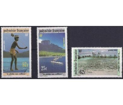 1991 Fransız Polinezyası Taşla Balıkçı Damgasız**