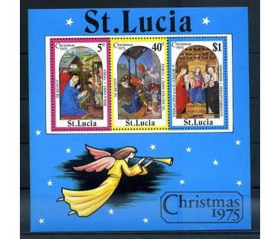 ST.LUCIA ** 1975 CHRISTMAS BLOK SÜPER ( O-1 )