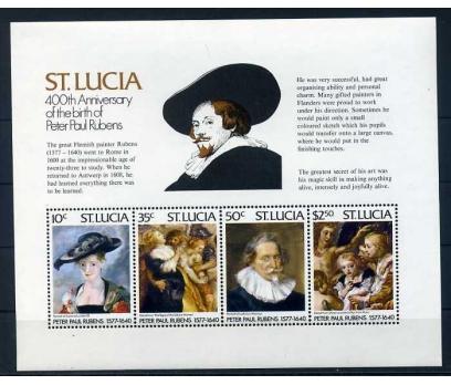 ST.LUCIA ** 1977 RUBENS & TABLOLAR BLOK  ( O-1 )