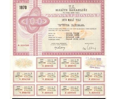 100 LİRALIK TASARRUF BONOSU 1970 YILI.