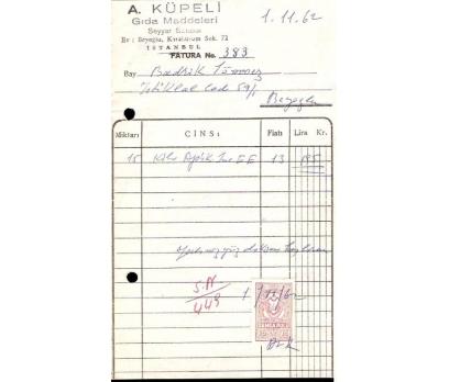 A.KÜPELİ-GIDA MADDELERİ.FATURA.1962