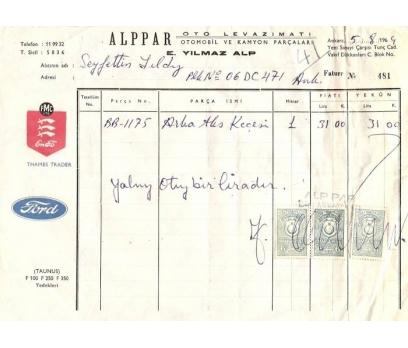 ALPPAR OTO LEVAZIMAT-ANKARA 1964 FATURA.