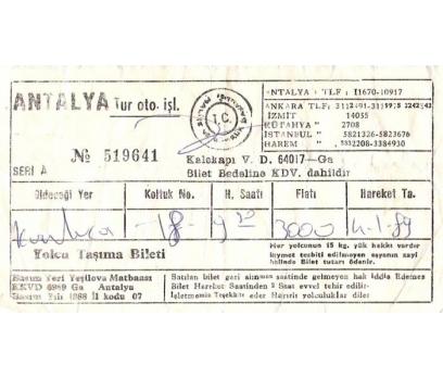 ANTALYA TUR.1989 YILI OTOBÜS BİLETİ