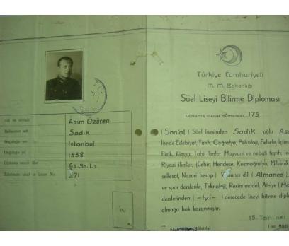 ASKERİ LİSE BİTİRME DİPLOMASI 1941 YILI