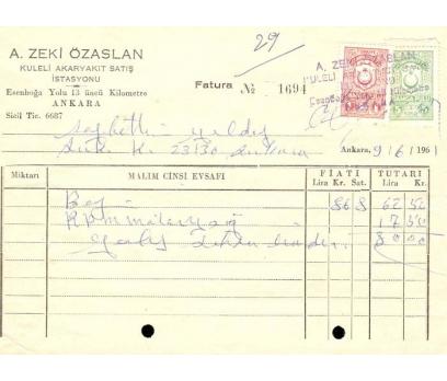 A.ZEKİ ÖZASLAN.ANKARA 1961 FATURA.