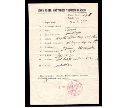 D&K- İZMİR ASKERİ HASTANESİ TABURCU EVRAKI 1935
