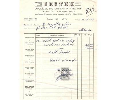 DESTEK OTO DİZEL-ANKARA 1964 FATURA.