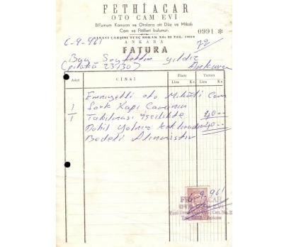 FETHİ ACAR-OTO CAM EVİ-ANKARA 1961 FATURA.