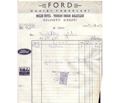 FORD HAKİKİ YEDEKLERİ-ANKARA 1969 FATURA.