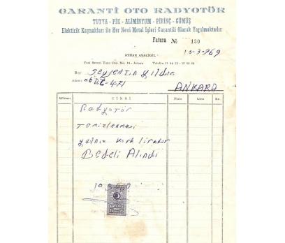 GARANTİ OTO RADYATÖR-ANKARA 1970 FATURA.