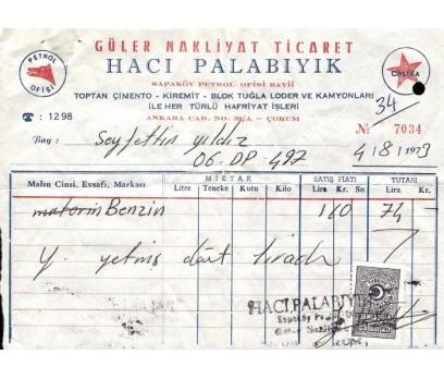 GÜLER NAKLİYAT TİCARET-ÇORUM 1973 FATURA.