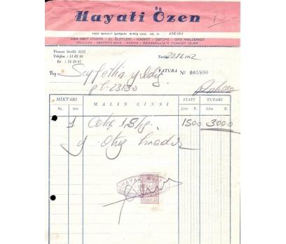 HAYATİ ÖZEN-ANKARA 1962 FATURA.