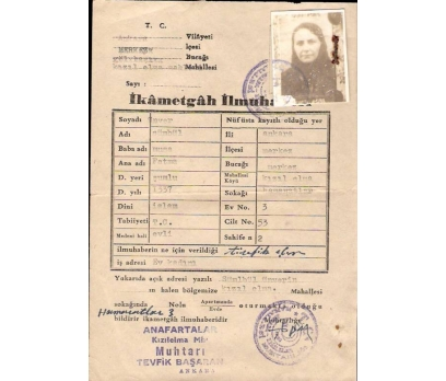 İKAMETGAH İLMUHABERİ RESİMLİ-ANKARA