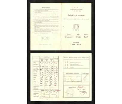 İLTEKİNBEY İLK MEKTEBİ KARNESİ 1934-1935 YIL