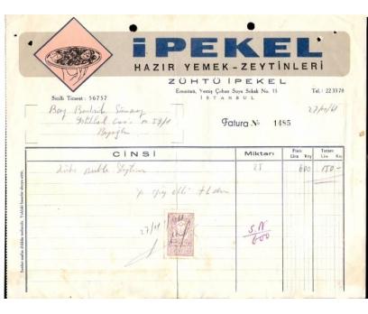 İPEKEL-HAZIR YEMEK VE ZEYTİNLERİ FATURA.1961