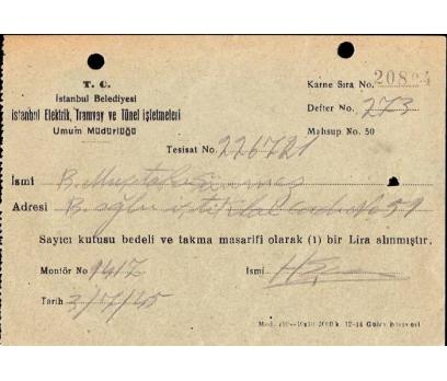 İSTANBUL BELEDİYESİ-MAKBUZ 1965