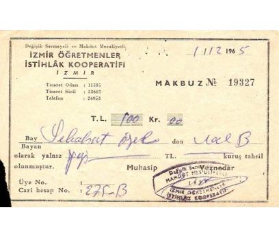 İZMİR ÖĞRETMENLER İSTİHLAK KOOPERATİFİ 1965