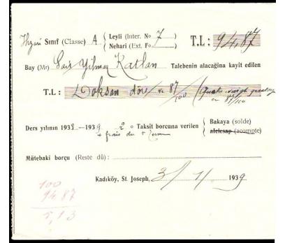 KADIKÖY ST.JOSEPH-ÖDEME MAKBUZU 1939