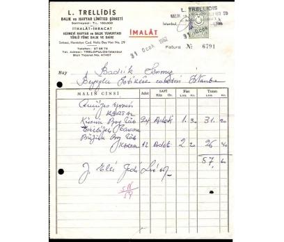L-TRELLİDİS-BALIK VE HAVYAR FATURASI.1962