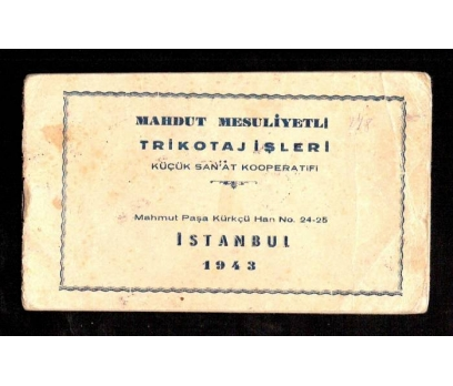 MAHDUT MESULİYETLİ-TRİKOTAJ İŞLERİ 1943 YILI