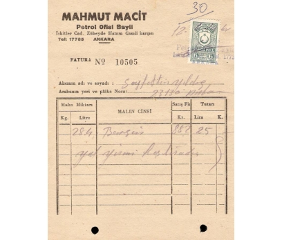 MAHMUT MACİT-PETROL OFİS.ANKARA 1961 FATURA.